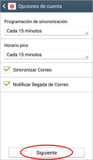 Configurar Correo en Android paso 5